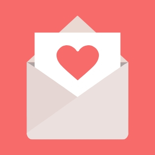 Valentine's Day envelope with heart