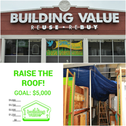 A collage of images including the exterior of the Building Value resale store, and shelves of home furnishings under a tarp to protect from water damage