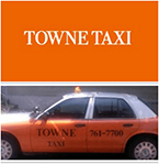 An orange taxi cab and the logo for Towne Taxi