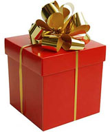photo of a red gift box with a gold bow on top
