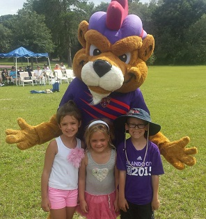 Campers with Kingston (Orlando City Soccer Mascot)