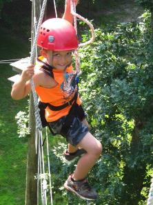 Boy on high ropes