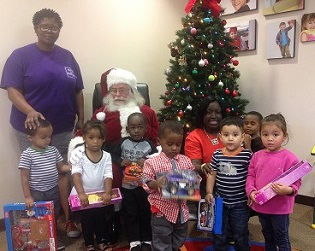 Children at the Igoe-Amar Child Development Center with Santa