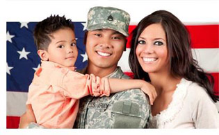 Photo of a veteran and his family