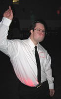 Picture of a client dancing at the First Saturday social event in Medford